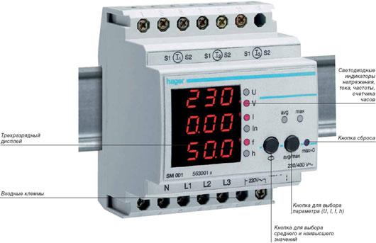 Модульные измерительные приборы HAGER (амперметр, вольтметр,прочее)