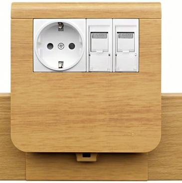 Кабель-канал SL с электроустановочным модулем, цвет дуб